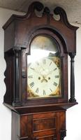19th Century Swan Neck Pediment Longcase Clock Galleon painted arched dial 8 Day Movement Gloucestershire clock (3 of 5)