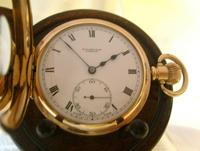 Antique Pocket Watch 1922 Swiss Vertex 7 Jewel Half Hunter 10ct Gold Filled Fwo (3 of 12)