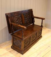 Late Victorian Solid Carved Oak Monks Bench (7 of 12)