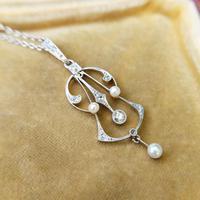 Antique Art Deco Platinum Diamond & Pearl Pendant Necklace