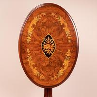 Good Quality Marquetry Walnut Occasional Tip Table (10 of 14)