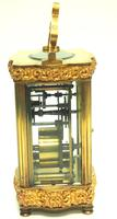 Fine Antique French 8-day Serpentine Fleur De Lis Decorated Panel 8-day Carriage Clock Timepiece c.1890 (10 of 10)
