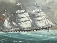 """Edwardian Watercolour """"Champion Of The Seas"""" Ship Black Ball Line Off Cape of Good Hope Signed Pierhead Artist Williams (2 of 39)"""