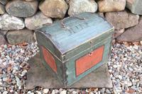 Scandinavian / Swedish 'Folk Art' Small blue-black orginal paint, Hälsingland table chest box 1814 (2 of 25)