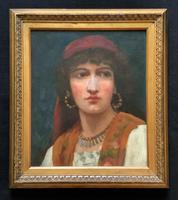 Fine Original 19th Century Antique Portrait Oil Painting of a Stunning Young Gypsy Girl