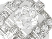 1.53ct Diamond & Platinum Dress Ring - Art Deco - Vintage French c.1940 (3 of 9)