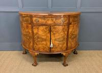 Burr Walnut Queen Anne Style Demi Lune Commode (2 of 11)