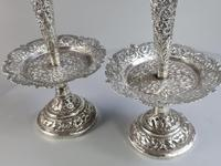 Stunning Large Pair of Indian Silver Floral Trumpet Vases c.1890 (4 of 13)