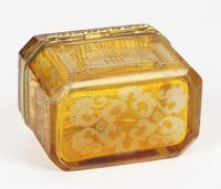 Bohemian Antique Engraved Metal Mounted Overlay Yellow Glass Sugar Casket 19th Century (6 of 19)