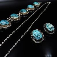 Art Deco Blue Porcelain Scarab Beetle Silver Full Set Suite - Necklace Earrings Bracelet (6 of 10)