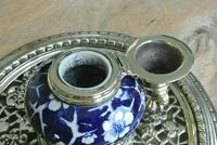Fine Victorian Brass Inkwell Chinese Inspired Prunus Blossom Pottery Ink Pot c.1880 (5 of 8)