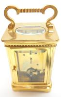 Rare Antique French 8-day Carriage Clock Unusual Masked Dial Case with Enamel Dial (6 of 10)