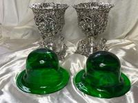 Pair English Sheffield Silver Champagne Rock Crystal Ice Cooler Cherub Vases (3 of 12)