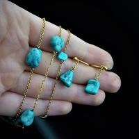 Antique Victorian Turquoise Matrix Nugget 9ct 9K Gold Chain Necklace and Earring Set (9 of 10)