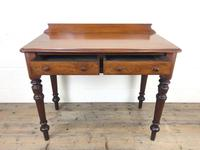 Antique Victorian Mahogany Two Drawer Side Table (5 of 15)