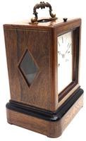 Fine French Officers 8-day Mantel Clock – Rosewood Case With Satinwood Inlay (3 of 13)
