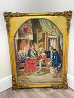 """Large Artwork Gilt Gesso Framed 19th Century Tapestry French Royal Court """"Playing Chess"""" (36 of 44)"""