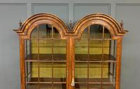 Burr Walnut Double Dome Topped Display Cabinet (6 of 18)