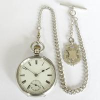 Antique Silver Marks Pocket Watch & Chain (2 of 5)
