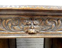 Small Carved Oak Green Man Desk (4 of 10)