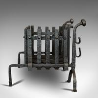 Antique Fire Basket, Andirons, Cast Iron, Fireside, Grate, Fire Dogs, Victorian (4 of 9)