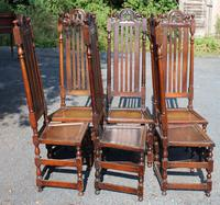 1900's Set 6 Carved Highback Oak Dining Chairs -carolean Style (3 of 5)