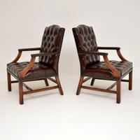Pair of Antique  Deep  Buttoned Leather Library Armchairs (10 of 12)
