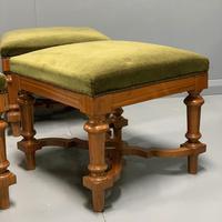 Set of 6 satinwood modular stools in vintage velvet (7 of 8)