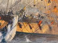 "Seascape Oil Painting Naval Frigate Ships Napoleonic War Sea ""Battle Trafalgar"" (25 of 25)"