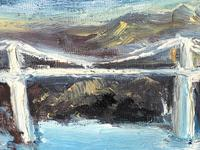 20th Century Oil Painting Wales Menai Bridge Church Straits Snowdonia Mountains (7 of 27)