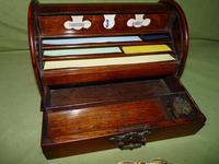Compact Figured Oak Roll Top Stationery Box. c1900 (4 of 14)