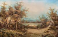 Large Fabulous 20th Century Vintage British Autumn Country Landscape Oil Painting (2 of 12)