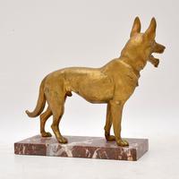 Large Antique Gilt Bronze Dog Sculpture by Robert  Bousquet (4 of 9)