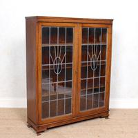 Oak Leaded Stained Glazed Bookcase Arts & Crafts Edwardian (6 of 11)
