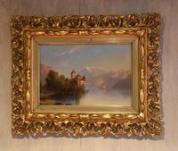 Alpine scene oil painting with castle by a lake (5 of 6)