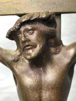 Antique 19th Century French Bronze Religious Crucifix Jesus INRI Display Statue (9 of 12)