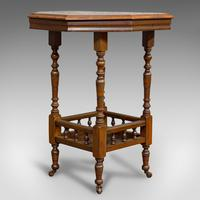 Antique Lamp Table, English, Walnut, Octagonal, Side, Games, Edwardian c.1910 (8 of 10)