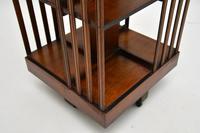 Antique Inlaid Walnut Revolving Bookcase (5 of 6)