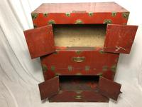 Pair of Late Qing Antique Chinese Dowry Marriage Wedding Brass Bound Red Lacquer Chests (22 of 54)
