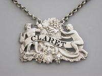 George III Cast Silver Two Putti with Jug & Bottle Wine Label 'Claret' - London, 1809 (3 of 6)