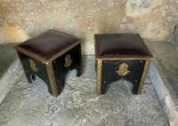 Pair of Moroccan Country House Studded & Leather Upholstered Footstools Seats (8 of 9)