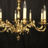 French Gilded 8 Light Chandelier (4 of 10)