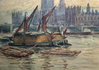 William Henry Harford - Houses of Parliament Riverscape Painting 19th Century (5 of 10)