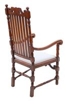 Oak Armchair Elbow Desk Chair C1915 Charles II Style (4 of 8)
