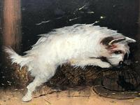 """Pair Victorian 19th Century Sporting Hunting Oil Paintings Terrier Dogs """"Ratting"""" Signed J Langlois (6 of 12)"""