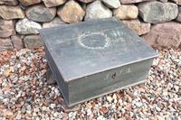 Scandinavian / Swedish 'Folk Art' original paint green/blue large table/alms/bible box raised on feet 1852 (3 of 36)