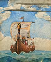 Unusual Original 19thc Seascape watercolour Painting - 11thc Vikings & Longboat (6 of 11)