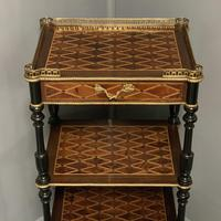 French Geometric Marquetry Etagere Side Table (2 of 3)
