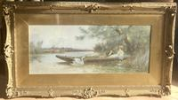 Thomas James Lloyd Watercolour 'A Summers Day On The River' (2 of 2)
