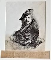 After Rembrandt, copy of portrait, etching, late 18th century, in period frame (3 of 6)